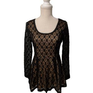 Catherine Malandrino Black Lace Peplum Top